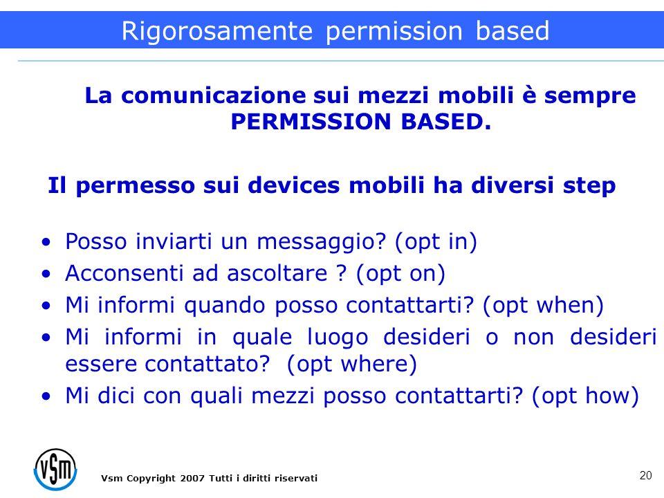 20 La comunicazione accettabile La comunicazione sui mezzi mobili è sempre PERMISSION BASED. Il permesso sui devices mobili ha diversi step Posso invi