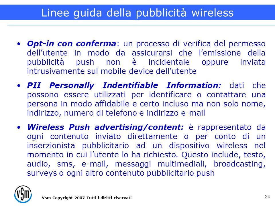Vsm Copyright 2007 Tutti i diritti riservati 24 Opt-in con conferma: un processo di verifica del permesso dellutente in modo da assicurarsi che lemiss