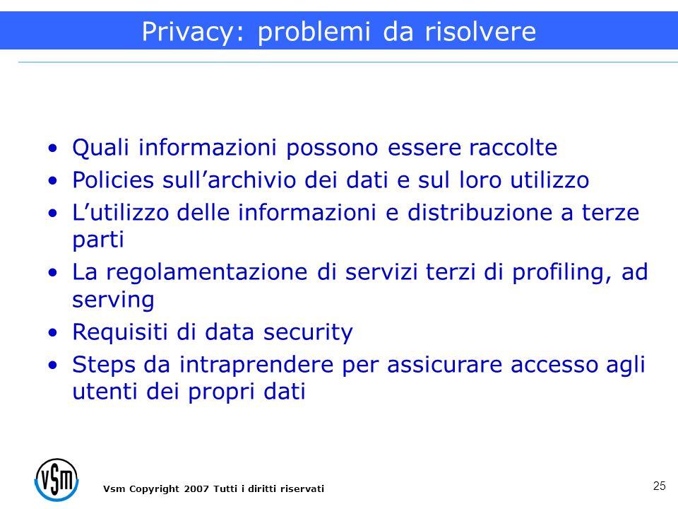 Vsm Copyright 2007 Tutti i diritti riservati 25 Quali informazioni possono essere raccolte Policies sullarchivio dei dati e sul loro utilizzo Lutilizz