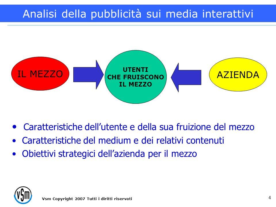 Vsm Copyright 2007 Tutti i diritti riservati 4 Caratteristiche dellutente e della sua fruizione del mezzo Caratteristiche del medium e dei relativi contenuti Obiettivi strategici dellazienda per il mezzo AZIENDA IL MEZZO UTENTI CHE FRUISCONO IL MEZZO Analisi della pubblicità sui media interattivi