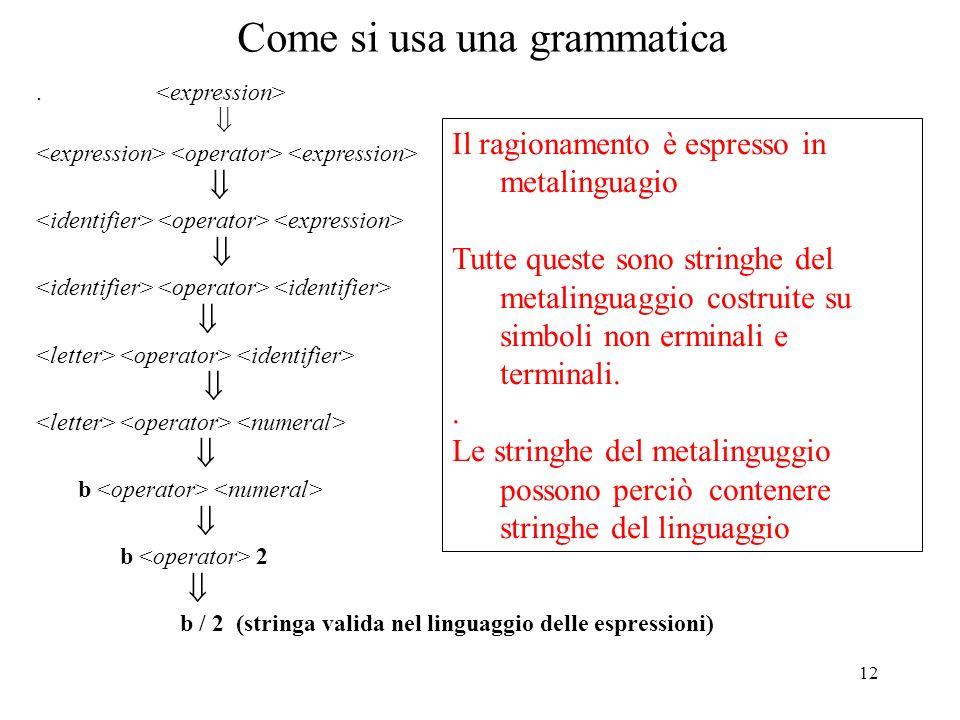 12 Come si usa una grammatica. b b 2 b / 2 (stringa valida nel linguaggio delle espressioni) Il ragionamento è espresso in metalinguagio Tutte queste