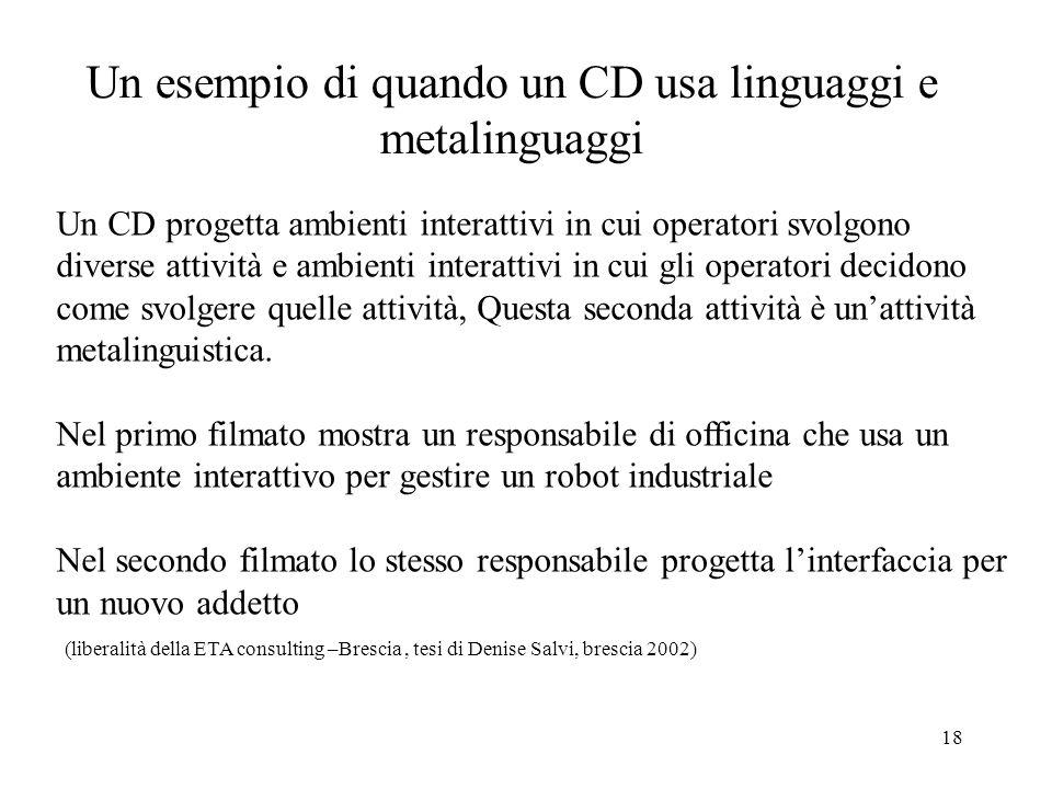 18 Un esempio di quando un CD usa linguaggi e metalinguaggi Un CD progetta ambienti interattivi in cui operatori svolgono diverse attività e ambienti