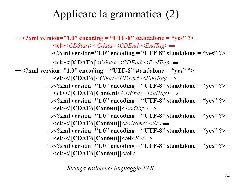24 Applicare la grammatica (2) > > Stringa valida nel linguaggio XML