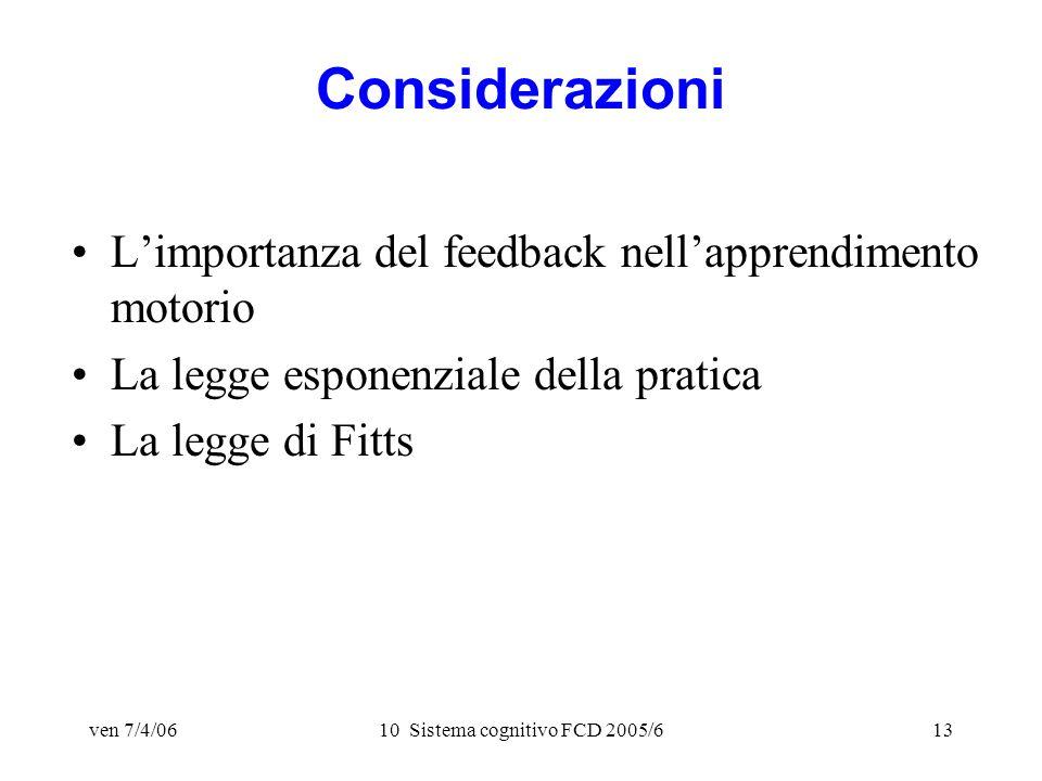ven 7/4/0610 Sistema cognitivo FCD 2005/613 Considerazioni Limportanza del feedback nellapprendimento motorio La legge esponenziale della pratica La legge di Fitts