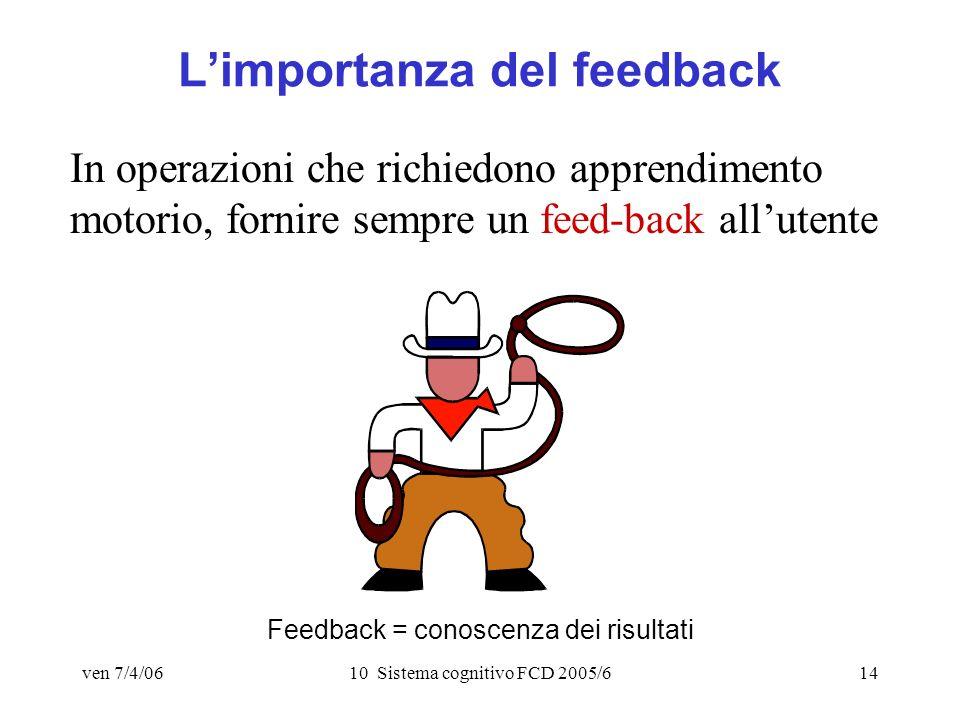 ven 7/4/0610 Sistema cognitivo FCD 2005/614 Limportanza del feedback In operazioni che richiedono apprendimento motorio, fornire sempre un feed-back allutente Feedback = conoscenza dei risultati