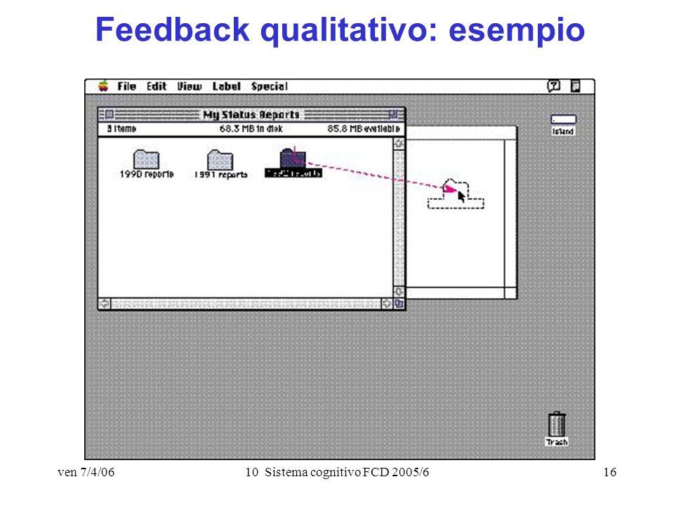 ven 7/4/0610 Sistema cognitivo FCD 2005/616 Feedback qualitativo: esempio