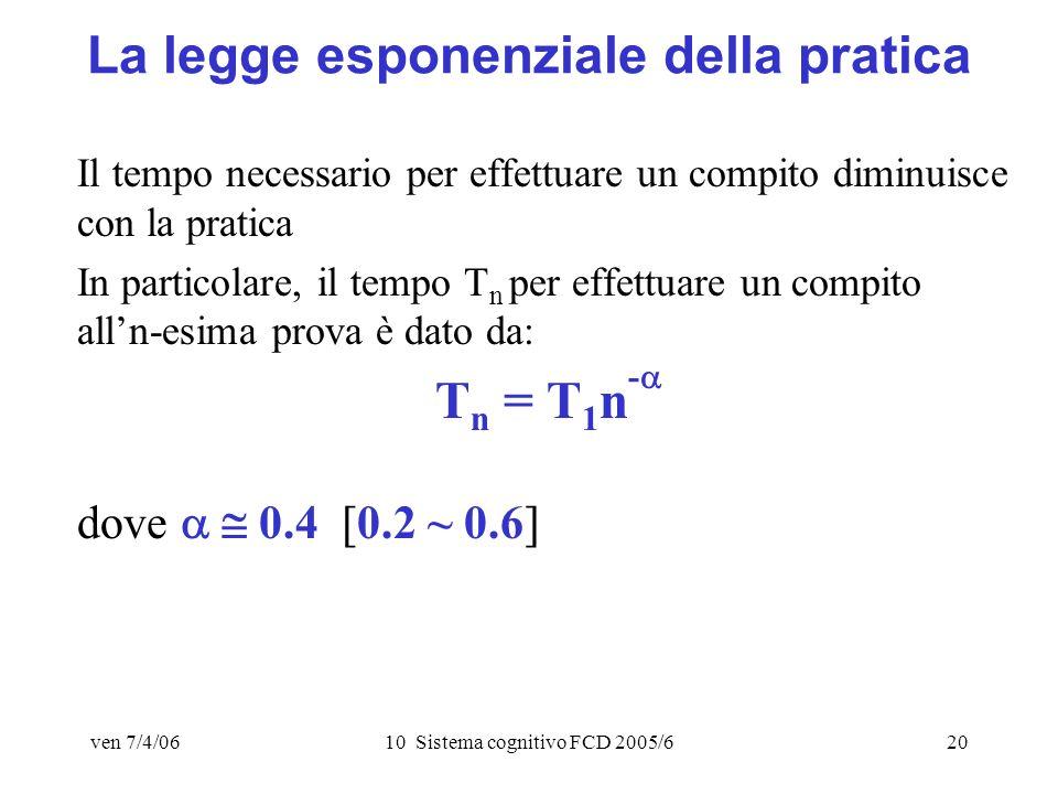 ven 7/4/0610 Sistema cognitivo FCD 2005/620 La legge esponenziale della pratica Il tempo necessario per effettuare un compito diminuisce con la pratica In particolare, il tempo T n per effettuare un compito alln-esima prova è dato da: T n = T 1 n - dove 0.4 [0.2 ~ 0.6]