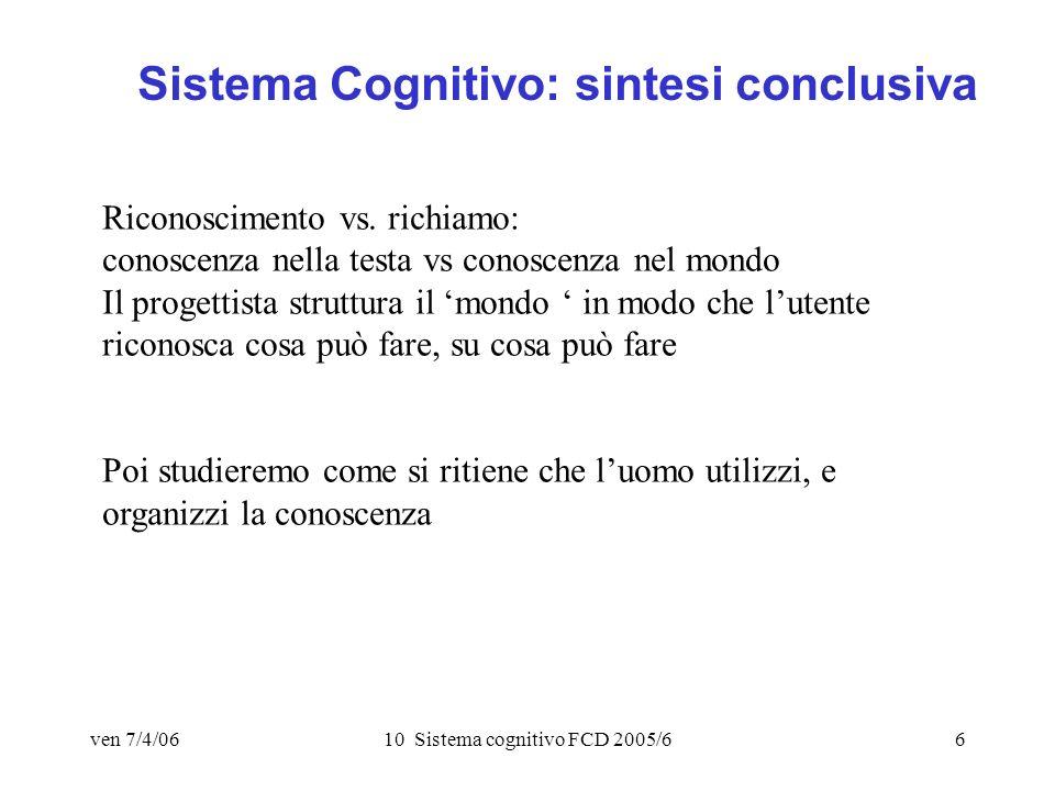 ven 7/4/0610 Sistema cognitivo FCD 2005/66 Sistema Cognitivo: sintesi conclusiva Riconoscimento vs.