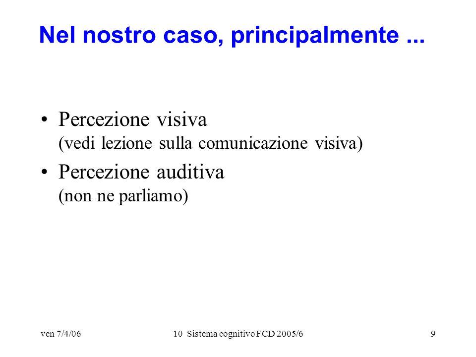 ven 7/4/0610 Sistema cognitivo FCD 2005/69 Nel nostro caso, principalmente...