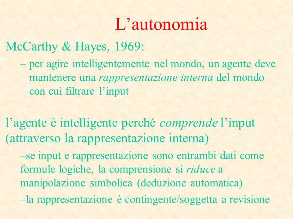 Lautonomia McCarthy & Hayes, 1969: –per agire intelligentemente nel mondo, un agente deve mantenere una rappresentazione interna del mondo con cui fil