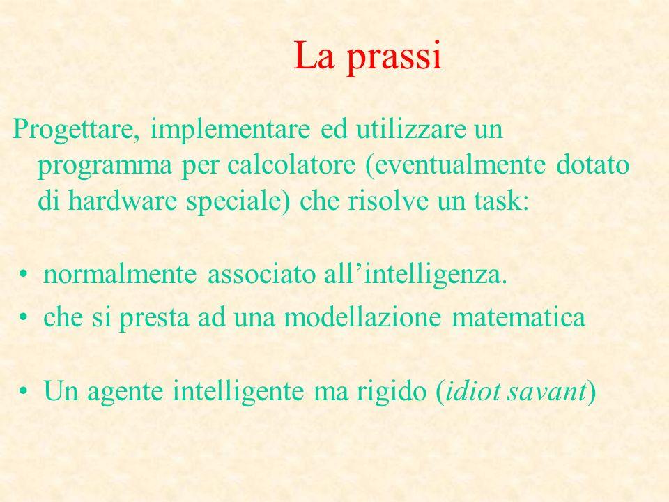 La prassi Progettare, implementare ed utilizzare un programma per calcolatore (eventualmente dotato di hardware speciale) che risolve un task: normalmente associato allintelligenza.