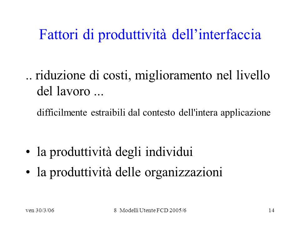 ven 30/3/068 Modelli Utente FCD 2005/614 Fattori di produttività dellinterfaccia..