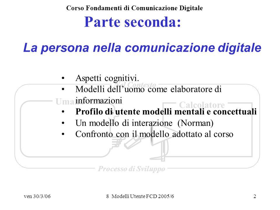 ven 30/3/068 Modelli Utente FCD 2005/63 LUTENTE Model Human Processor (Card, Moran, Newell, 1983)