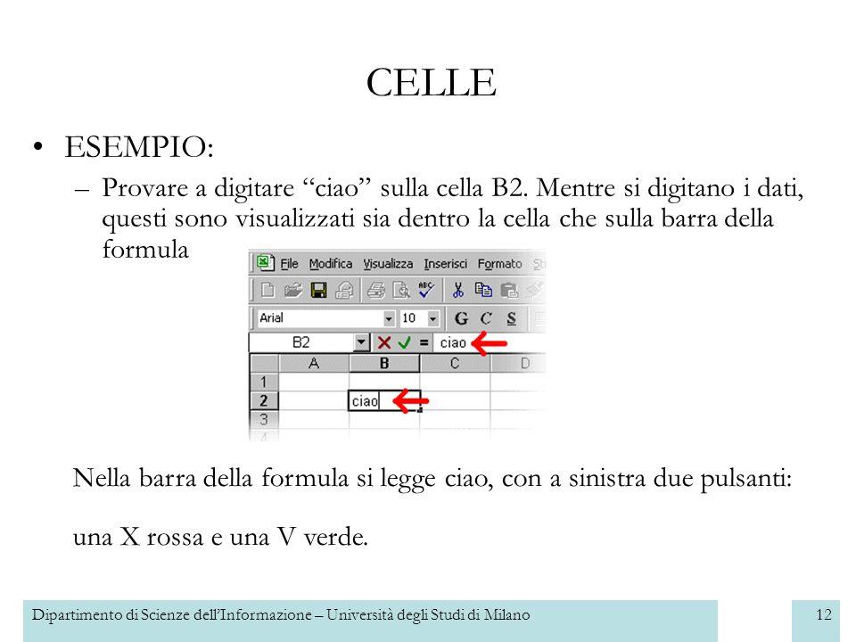 Dipartimento di Scienze dellInformazione – Università degli Studi di Milano13 Per cancellare quello che è stato inserito allinterno di una cella, si deve semplicemente rendere attiva la cella (cioè farci un clic sopra) e premere il tasto CANC nella tastiera.