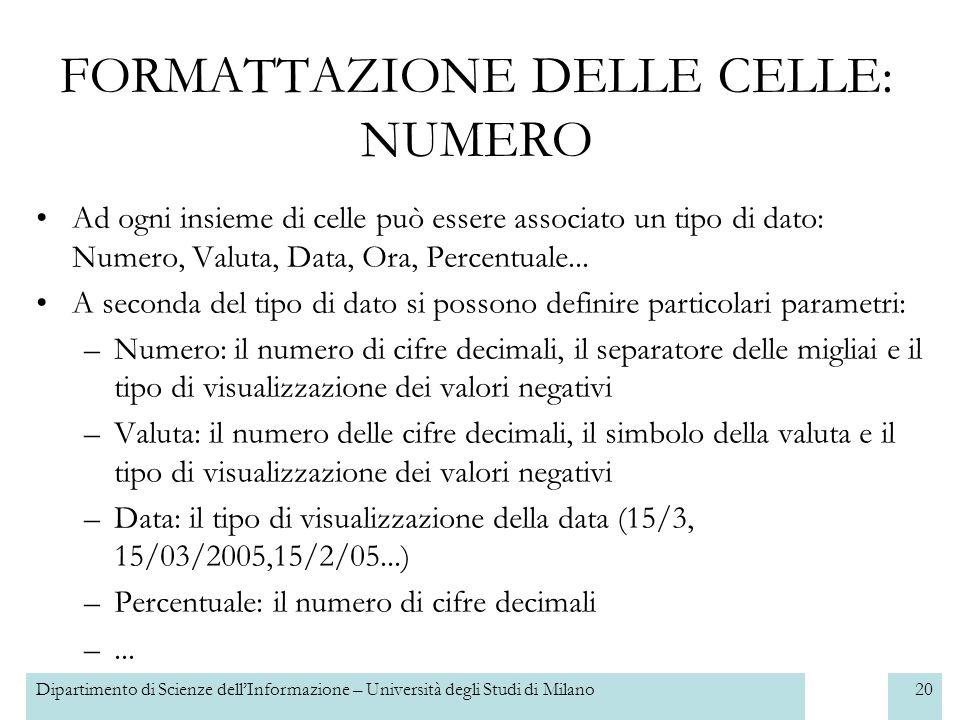 Dipartimento di Scienze dellInformazione – Università degli Studi di Milano21 Ad ogni insieme di celle può essere associato un particolare font FORMATTAZIONE DELLE CELLE: CARATTERE