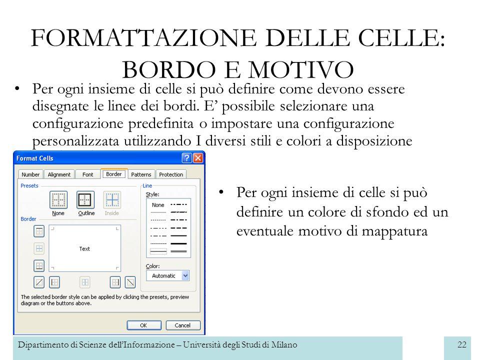 Dipartimento di Scienze dellInformazione – Università degli Studi di Milano23 SELEZIONARE UN INSIEME DI CELLE In generale si utilizza la selezione per utilizzare gli stessi comandi su un gruppo di celle, per esempio colorare i bordi di una tabella.