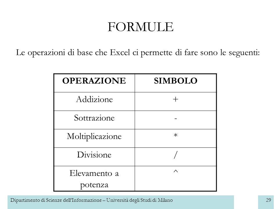 Dipartimento di Scienze dellInformazione – Università degli Studi di Milano30 FORMULE Excel è in grado di utilizzare anche celle per fare formule.