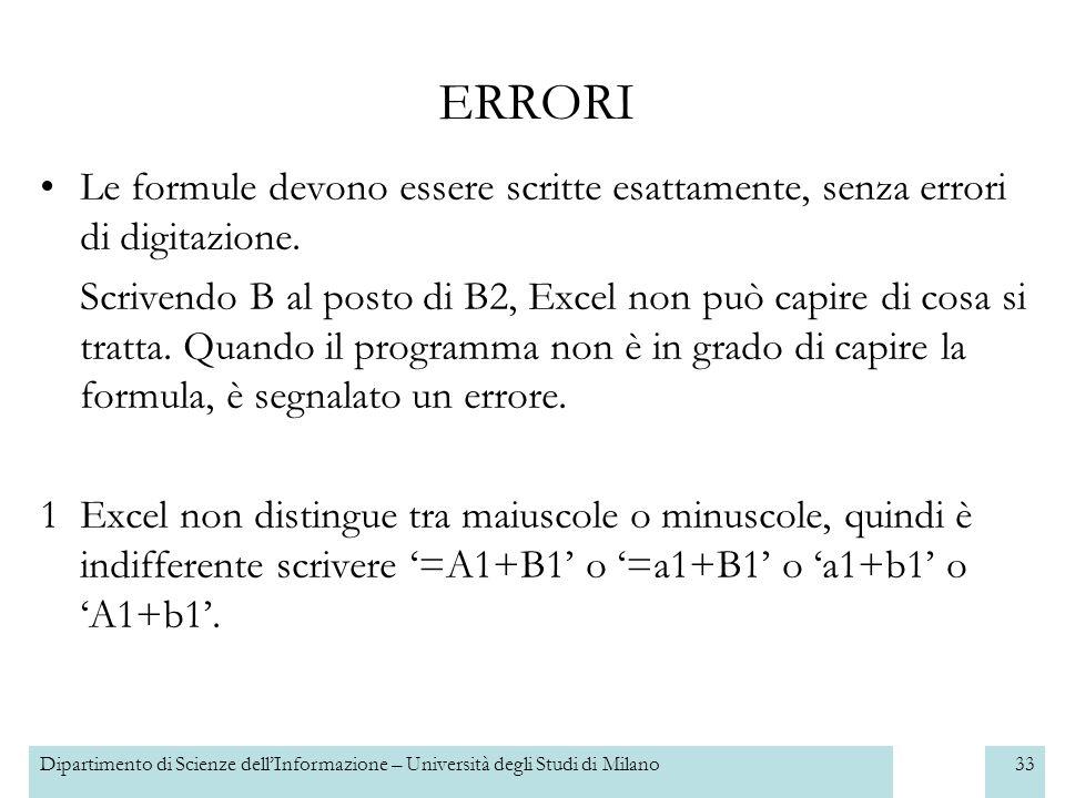 Dipartimento di Scienze dellInformazione – Università degli Studi di Milano34 2Gli errori più frequenti sono quelli di digitazione.