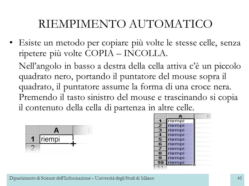 Dipartimento di Scienze dellInformazione – Università degli Studi di Milano46 Esercizio 3 Aggiungere una colonna contenente per ogni oggetto la quantità disponibile in magazzino.