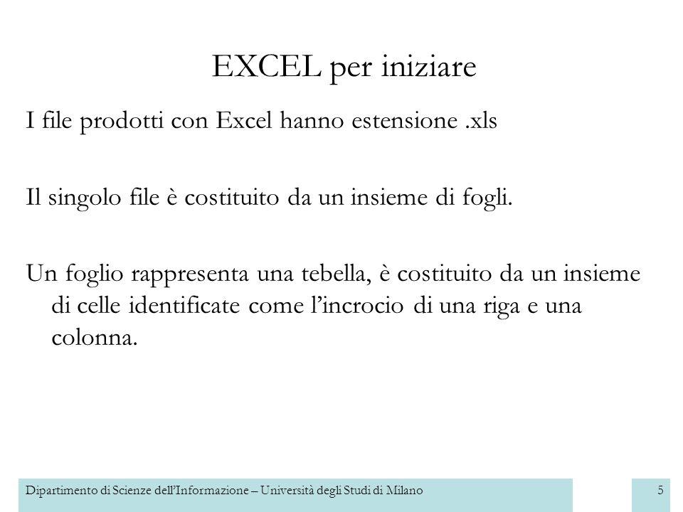 Dipartimento di Scienze dellInformazione – Università degli Studi di Milano6 Allapertura di un nuovo file appare un documento costituito da tre fogli vuoti.
