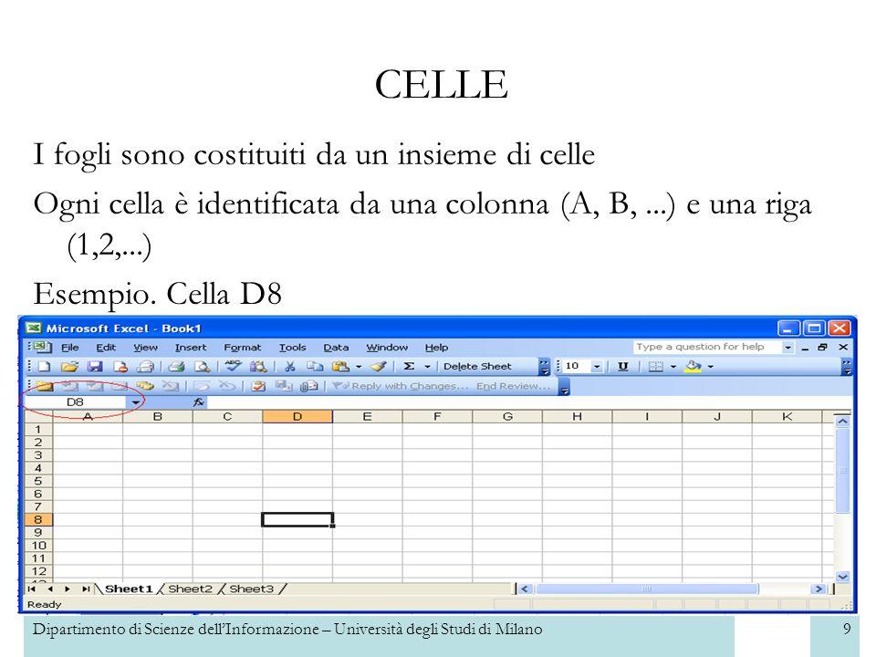 Dipartimento di Scienze dellInformazione – Università degli Studi di Milano9 I fogli sono costituiti da un insieme di celle Ogni cella è identificata da una colonna (A, B,...) e una riga (1,2,...) Esempio.