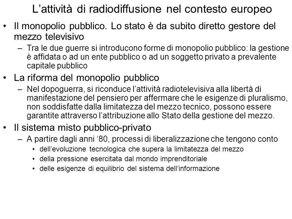 Lattività di radiodiffusione nel contesto europeo Il monopolio pubblico.