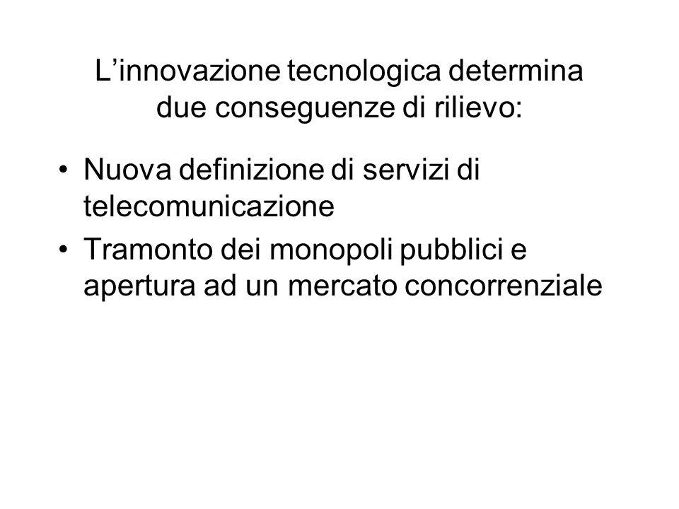Linnovazione tecnologica determina due conseguenze di rilievo: Nuova definizione di servizi di telecomunicazione Tramonto dei monopoli pubblici e apertura ad un mercato concorrenziale