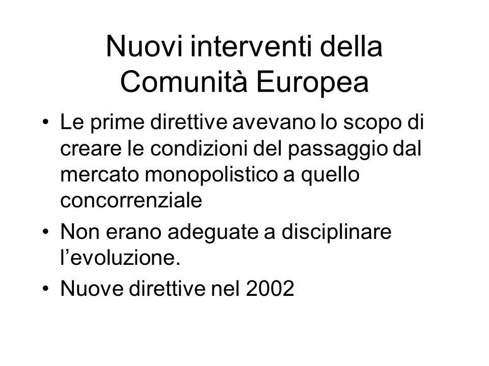 Nuovi interventi della Comunità Europea Le prime direttive avevano lo scopo di creare le condizioni del passaggio dal mercato monopolistico a quello concorrenziale Non erano adeguate a disciplinare levoluzione.