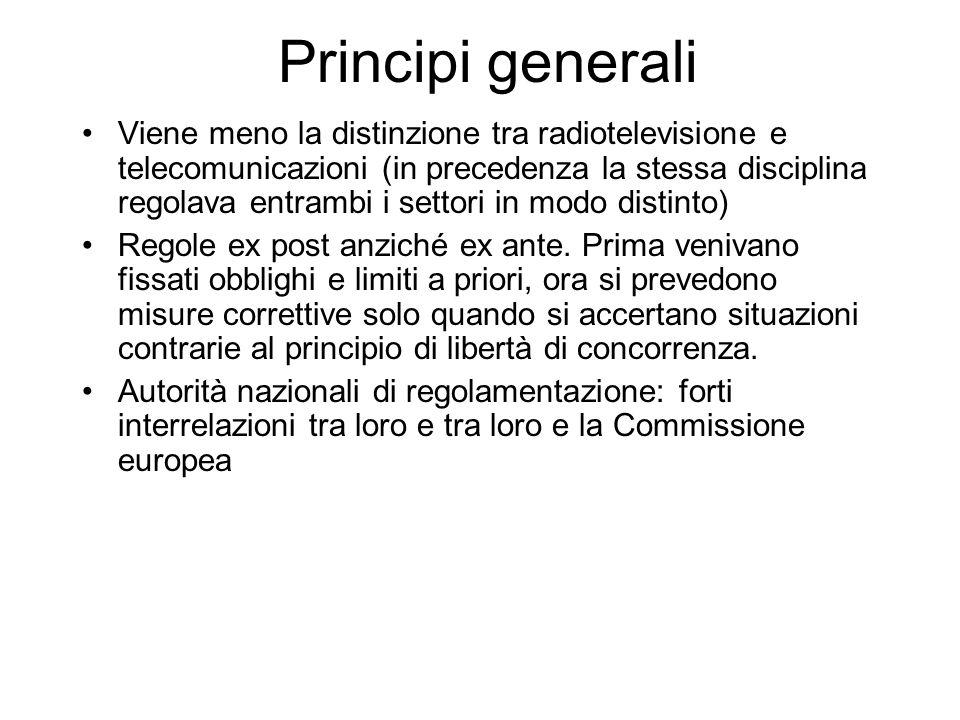 Principi generali Viene meno la distinzione tra radiotelevisione e telecomunicazioni (in precedenza la stessa disciplina regolava entrambi i settori in modo distinto) Regole ex post anziché ex ante.