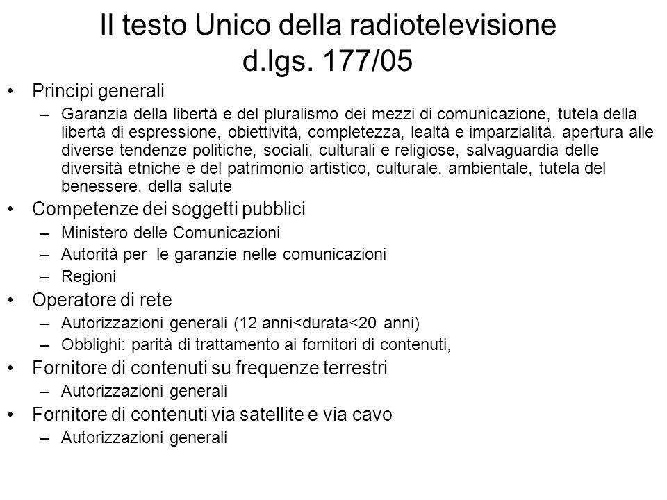 Il testo Unico della radiotelevisione d.lgs.