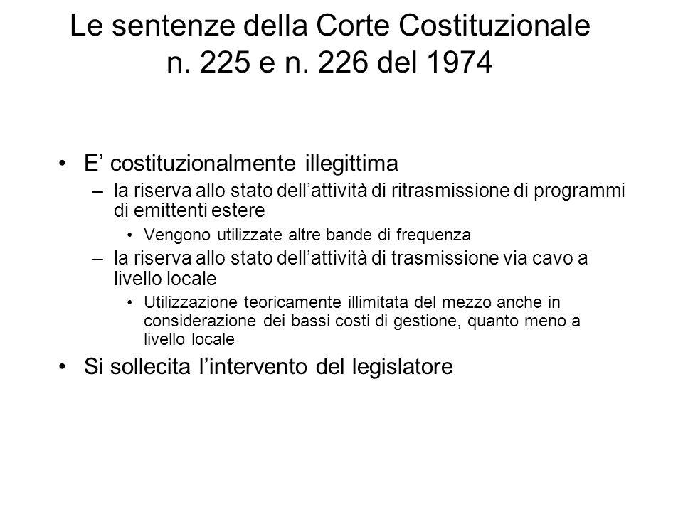 Le sentenze della Corte Costituzionale n. 225 e n.