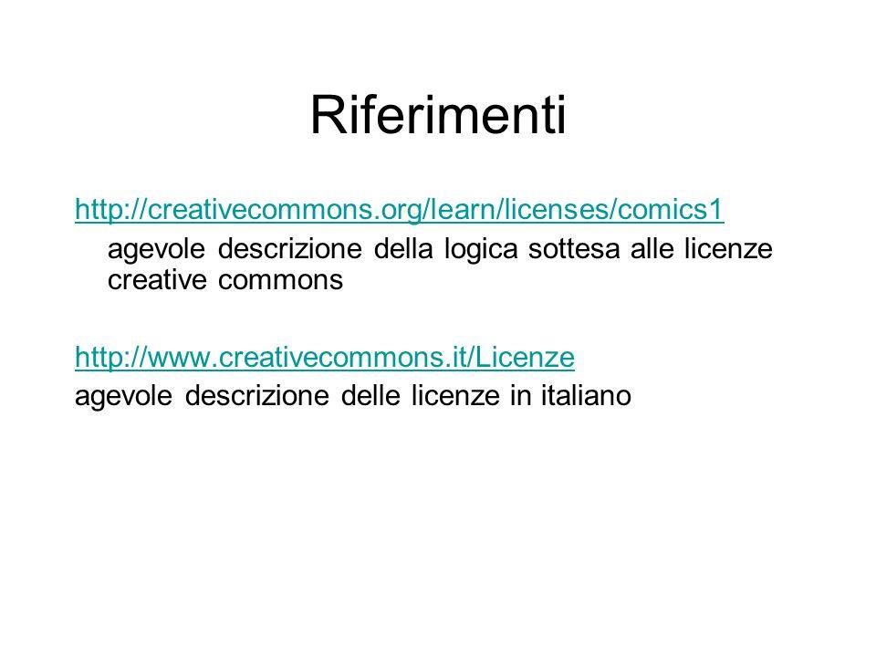 Riferimenti http://creativecommons.org/learn/licenses/comics1 agevole descrizione della logica sottesa alle licenze creative commons http://www.creati