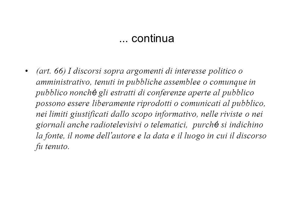 ... continua (art. 66) I discorsi sopra argomenti di interesse politico o amministrativo, tenuti in pubbliche assemblee o comunque in pubblico nonch è