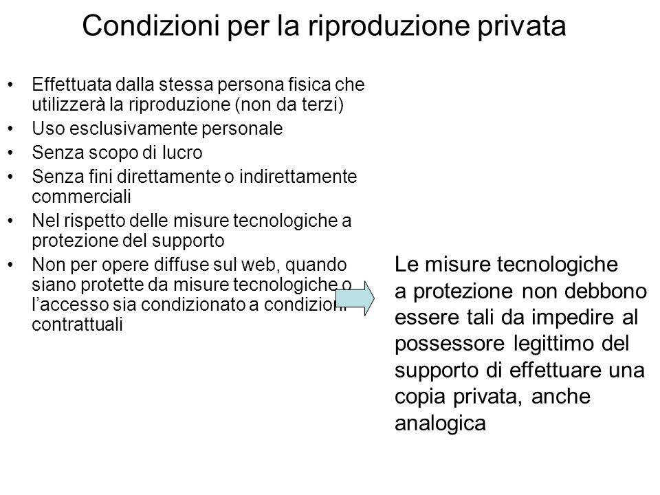 Condizioni per la riproduzione privata Effettuata dalla stessa persona fisica che utilizzerà la riproduzione (non da terzi) Uso esclusivamente persona