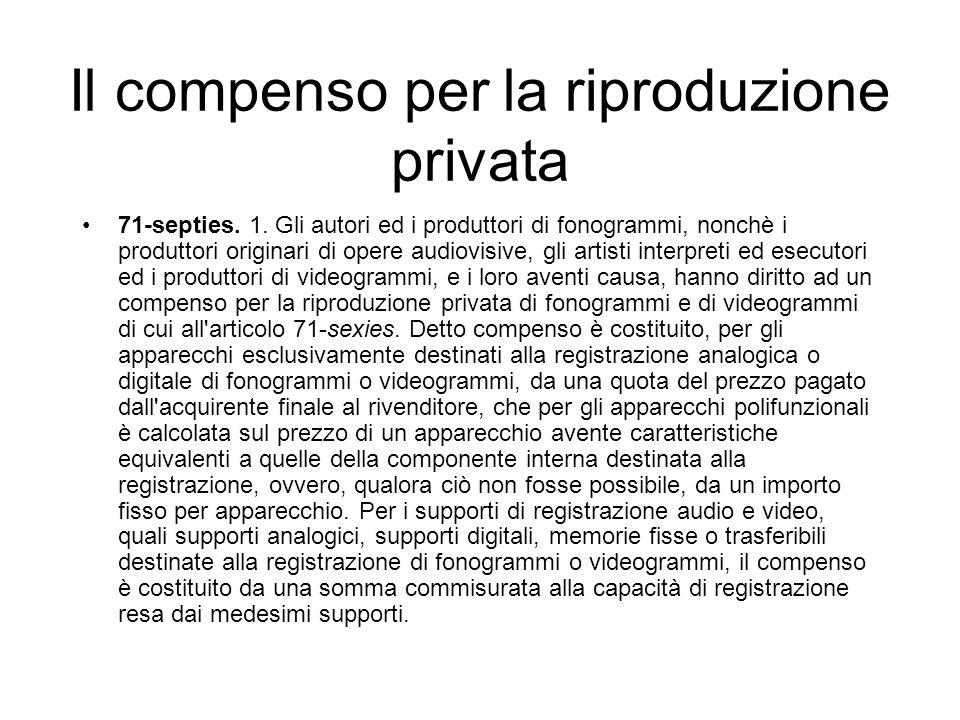 Il compenso per la riproduzione privata 71-septies. 1. Gli autori ed i produttori di fonogrammi, nonchè i produttori originari di opere audiovisive, g