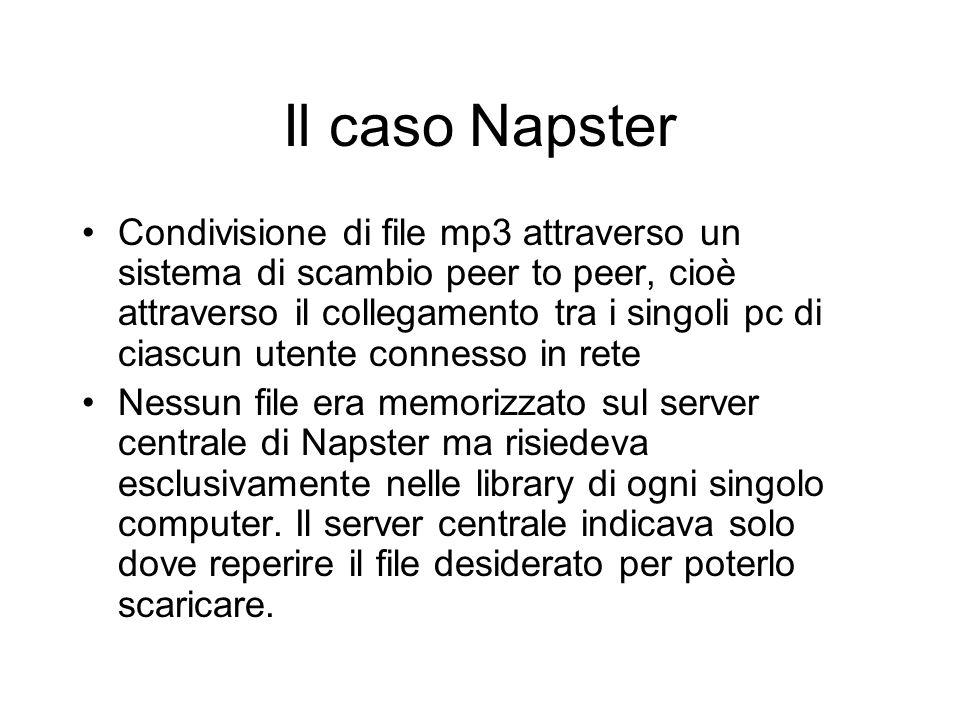 Il caso Napster Condivisione di file mp3 attraverso un sistema di scambio peer to peer, cioè attraverso il collegamento tra i singoli pc di ciascun ut