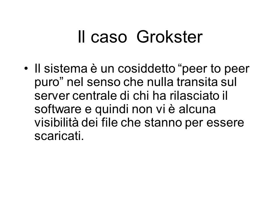 Il caso Grokster Il sistema è un cosiddetto peer to peer puro nel senso che nulla transita sul server centrale di chi ha rilasciato il software e quin