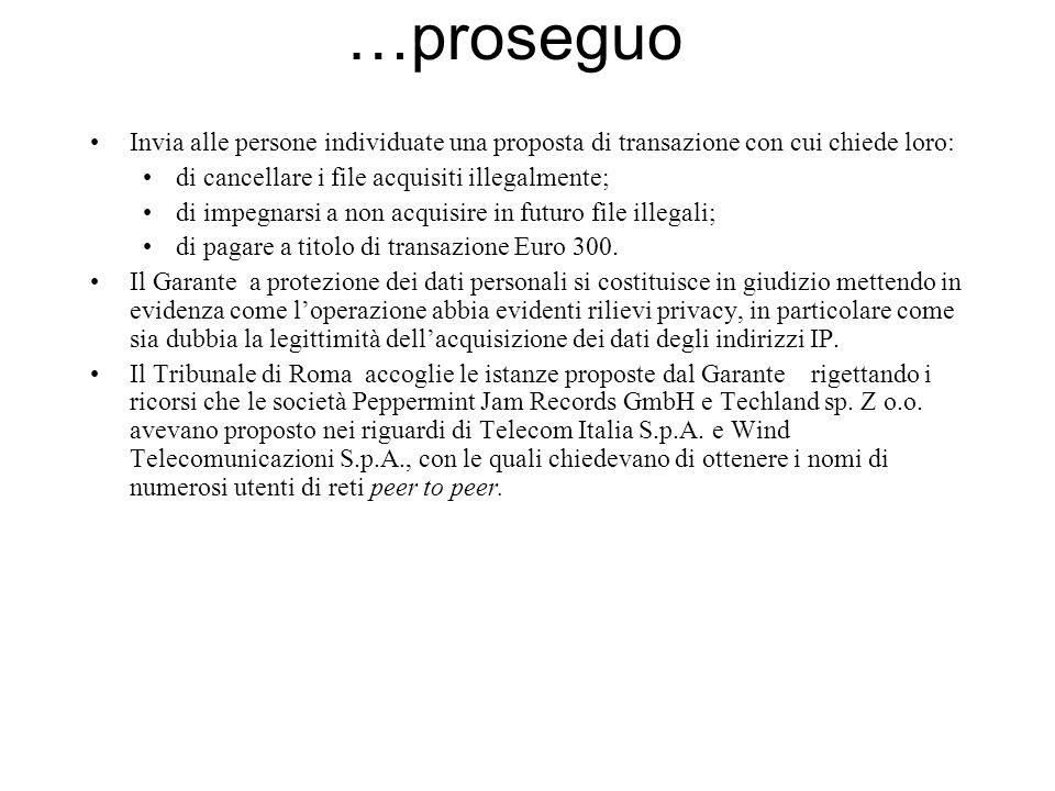 …proseguo Invia alle persone individuate una proposta di transazione con cui chiede loro: di cancellare i file acquisiti illegalmente; di impegnarsi a