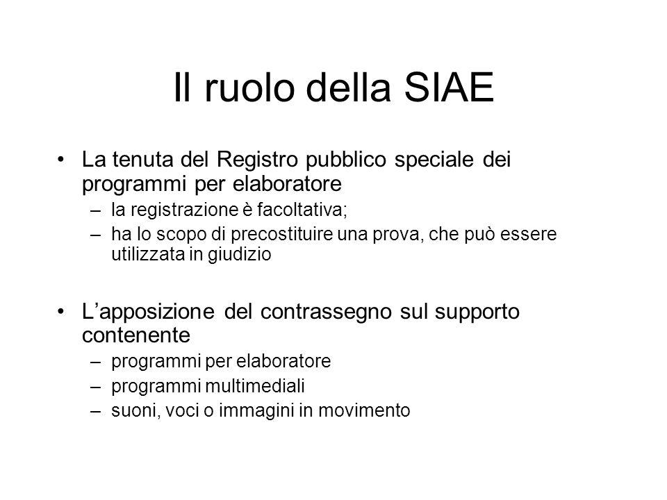 Il ruolo della SIAE La tenuta del Registro pubblico speciale dei programmi per elaboratore –la registrazione è facoltativa; –ha lo scopo di precostitu