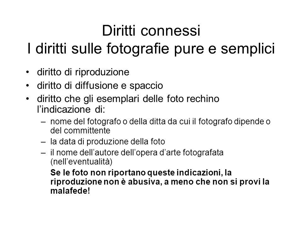 Diritti connessi I diritti sulle fotografie pure e semplici diritto di riproduzione diritto di diffusione e spaccio diritto che gli esemplari delle fo