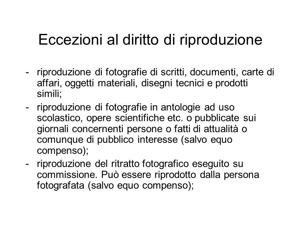 Eccezioni al diritto di riproduzione -riproduzione di fotografie di scritti, documenti, carte di affari, oggetti materiali, disegni tecnici e prodotti