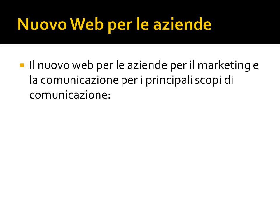 Il nuovo web per le aziende per il marketing e la comunicazione per i principali scopi di comunicazione:
