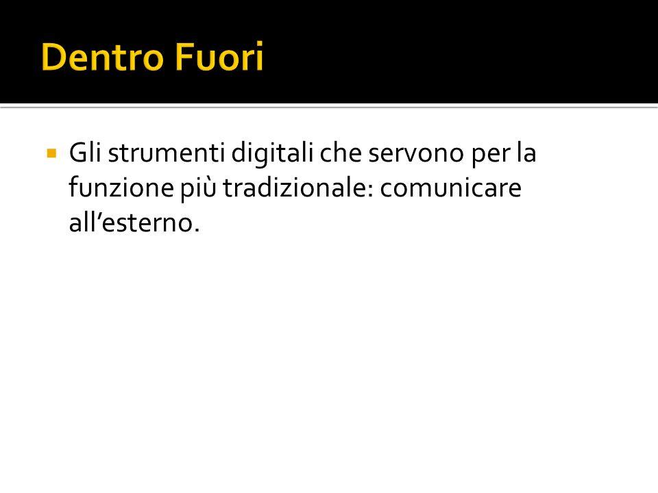 Gli strumenti digitali che servono per la funzione più tradizionale: comunicare allesterno.