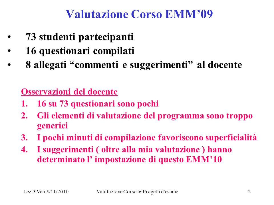 Lez 5 Ven 5/11/2010Valutazione Corso & Progetti d esame13 DOMANDE.