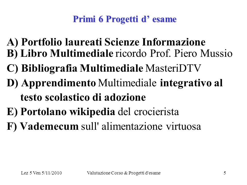 Lez 5 Ven 5/11/2010Valutazione Corso & Progetti d esame5 Primi 6 Progetti d esame A) Portfolio laureati Scienze Informazione B) Libro Multimediale ricordo Prof.