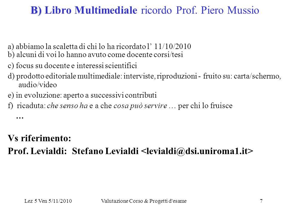 Lez 5 Ven 5/11/2010Valutazione Corso & Progetti d esame7 B) B) Libro Multimediale ricordo Prof.