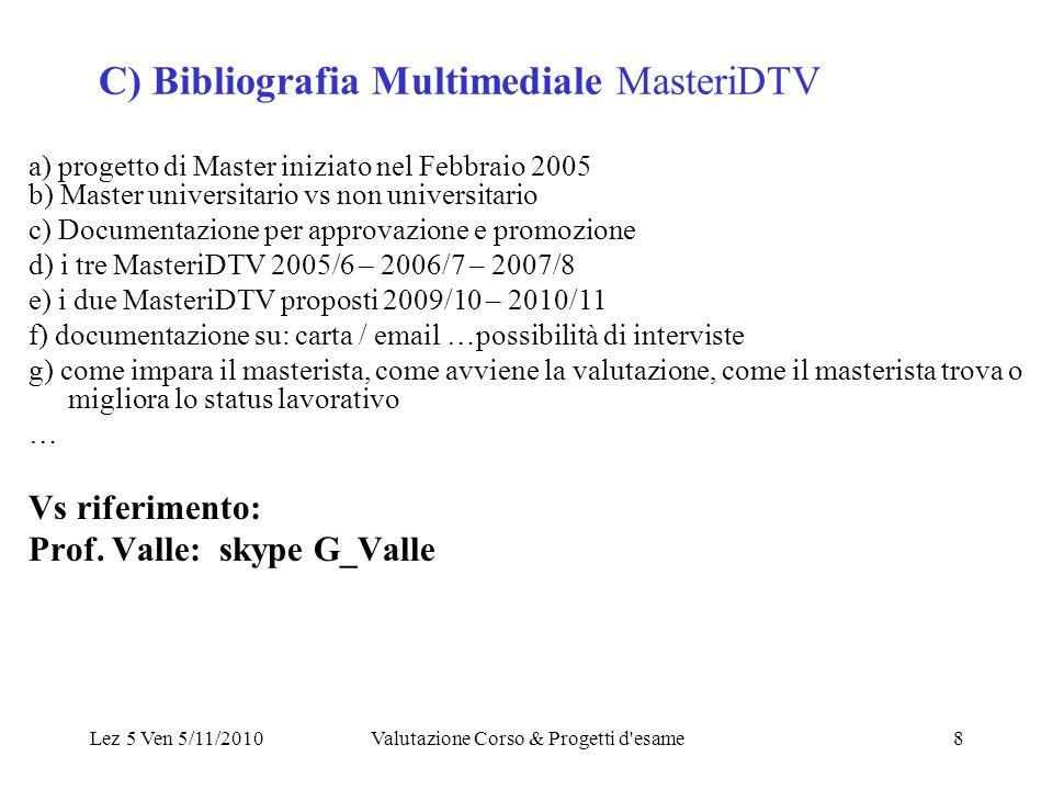 Lez 5 Ven 5/11/2010Valutazione Corso & Progetti d esame8 C) Bibliografia Multimediale MasteriDTV a) progetto di Master iniziato nel Febbraio 2005 b) Master universitario vs non universitario c) Documentazione per approvazione e promozione d) i tre MasteriDTV 2005/6 – 2006/7 – 2007/8 e) i due MasteriDTV proposti 2009/10 – 2010/11 f) documentazione su: carta / email …possibilità di interviste g) come impara il masterista, come avviene la valutazione, come il masterista trova o migliora lo status lavorativo … Vs riferimento: Prof.