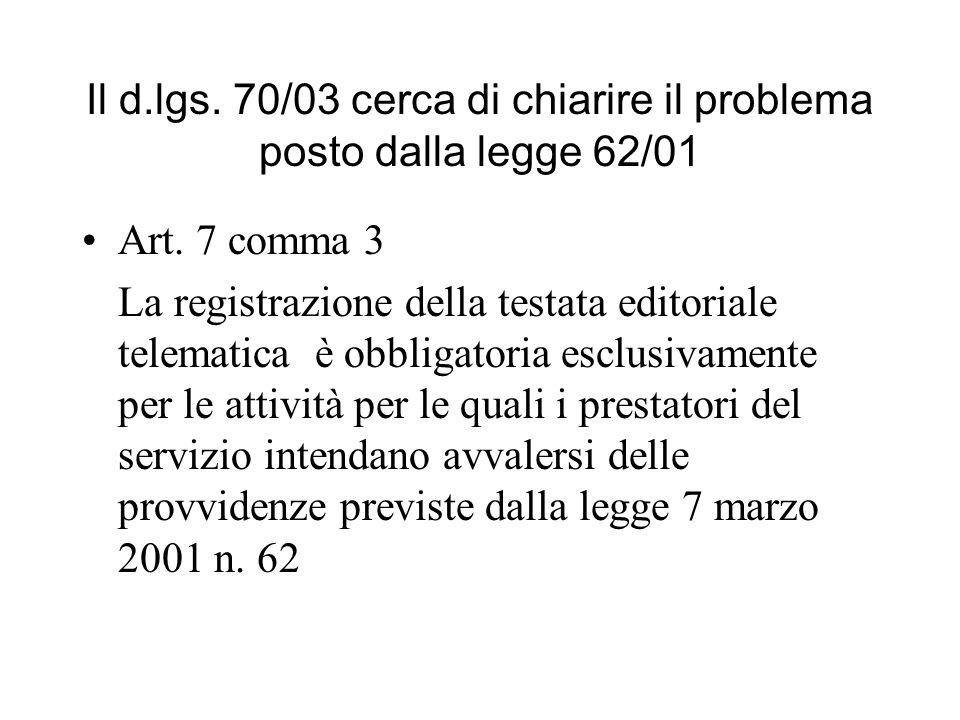 Il d.lgs. 70/03 cerca di chiarire il problema posto dalla legge 62/01 Art. 7 comma 3 La registrazione della testata editoriale telematica è obbligator