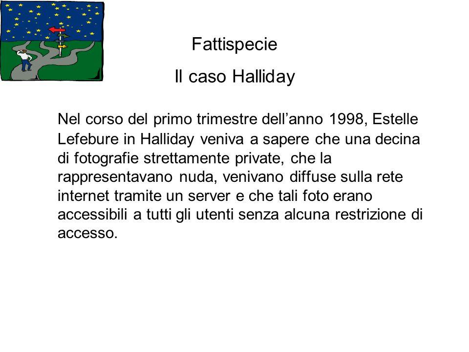 Fattispecie Il caso Halliday Nel corso del primo trimestre dellanno 1998, Estelle Lefebure in Halliday veniva a sapere che una decina di fotografie st
