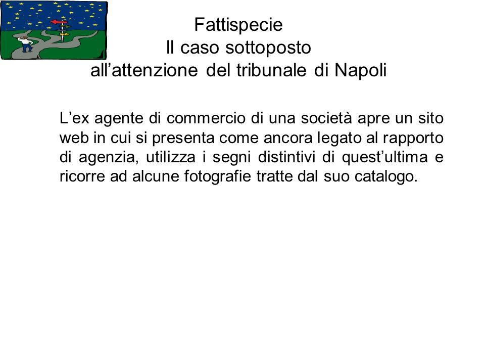Fattispecie Il caso sottoposto allattenzione del tribunale di Napoli Lex agente di commercio di una società apre un sito web in cui si presenta come a